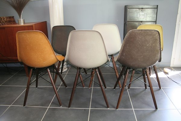 DSW Fiberglass Chairs By Charles U0026 Ray Eames For Herman Miller, 1960s, Set  Of