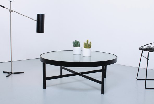 MidCentury Round Black Frosted Wire Glass Coffee Table by Jannie