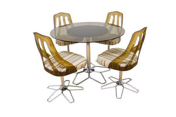 Glass, Chrome, U0026 Perspex Dining Set, 1960s 1