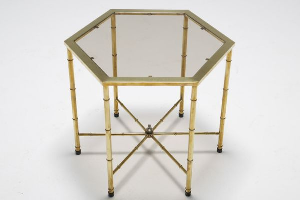 Vintage Brass Side Table With Smoked Glass Top From Mastercraft 2