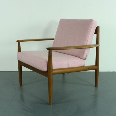 Teak Lounge Chair With Pink Upholstery By Grete Jalk For France U0026 Søn, ...