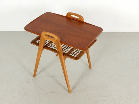 Scandinavian Teak And Rattan Side Table, 1960s 9