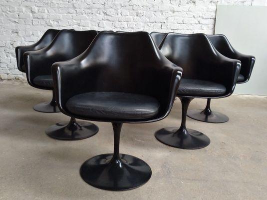 fauteuil pivotant tulipe en cuir noir par eero saarinen pour knoll 1950s set de 8 1 Résultat Supérieur 50 Élégant Fauteuil Pivotant Cuir Image 2017 Zat3