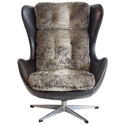 Vintage Danish Swivel Armchair Upholstered With Black Leather And Faux Fur 1