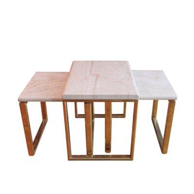 Best tavoli ad incastro in ottone e travertino set di for Tavoli baxter prezzi