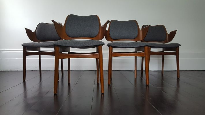 Mid Century Shell Dining Chairs By Hans Olsen For Bramin, Set Of 4 1