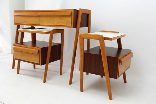 Mid Century Bedroom Set With Console Table And Two Nightstands From Jitona,  1960s 2