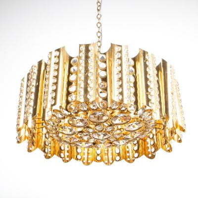 Large gold plated brass and crystal chandelier by gaetano sciolari large gold plated brass and crystal chandelier by gaetano sciolari 1960s 1 mozeypictures Image collections