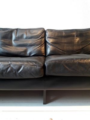 blackened furniture 4 seater sofa in black leather and blackened metal from carl