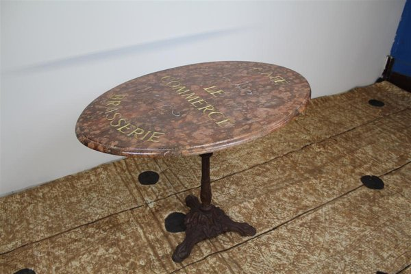 Antique Marble And Cast Iron Bistro Table 2