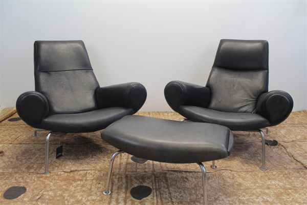 Vintage Armchairs With Ottoman, 1960s, Set Of 3 1