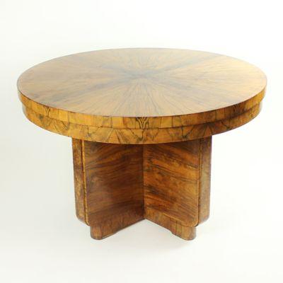 Large Vintage Art Deco Card Table In Walnut Veneer 1