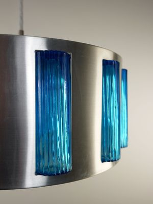 Swedish Modern Blue Glass Drum Pendant from Orrefors, 1960s 2