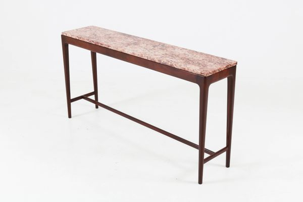 Mid Century Modern Danish Mahogany Console Table With Marble Top, 1960s 7