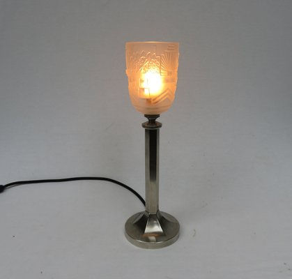 Vintage Art Deco Nickel Plated U0026 Frosted Glass Table Lamp 16