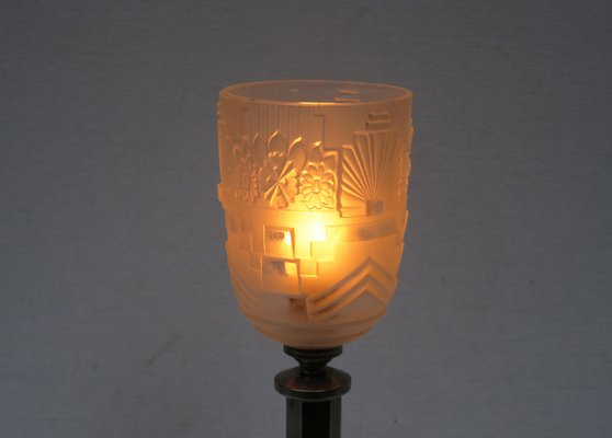 Vintage Art Deco Nickel Plated U0026 Frosted Glass Table Lamp 17