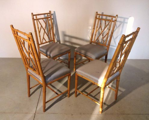 Faux Bamboo Chairs, 1970s, Set Of 4 8