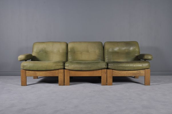 Sectional Green Leather Sofa From Leolux, 1970S For Sale At Pamono