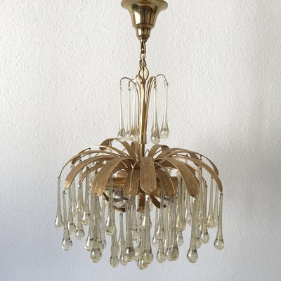 6Light Chandelier with Glass Drops from Palwa 1970s for sale at