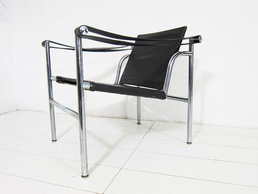 LC1 Vintage Italian Black Leather Armchair by Le Corbusier, Pierre ...
