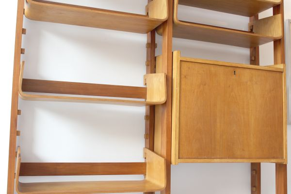 Vintage Italian Storage Unit with Curved Birch Shelves for sale at .