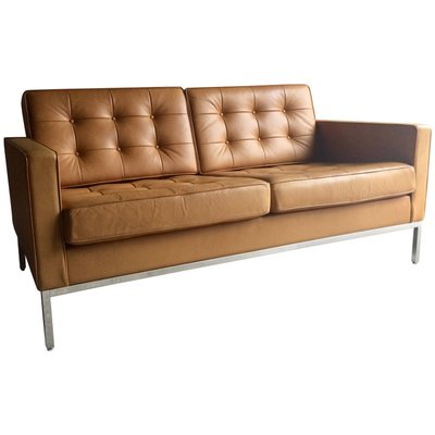 Vintage 2Seater Leather Sofa by Florence Knoll for Knoll for sale