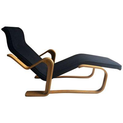 Vintage Black Long Chair by Marcel Breuer 1