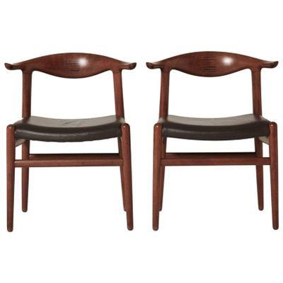 Mid Century Model JH 5050 Cow Horn Chairs By Hans Wegner For Johannes  Hansen 1