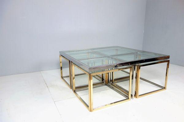 Grande Table Basse Vintage Avec Tables Gigognes Par Maison Charles