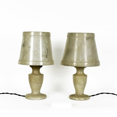 Small Alabaster Table Lamps, 1960s, Set Of 2 1