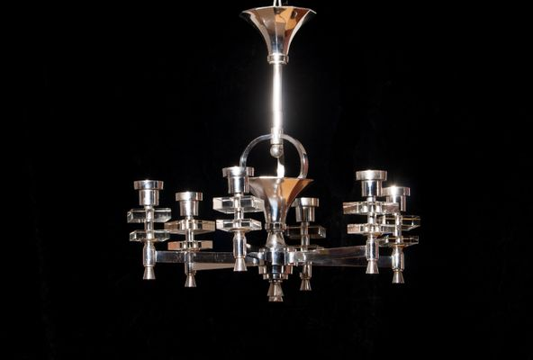 French chrome crystal chandelier 1950s for sale at pamono french chrome crystal chandelier 1950s 2 mozeypictures Images