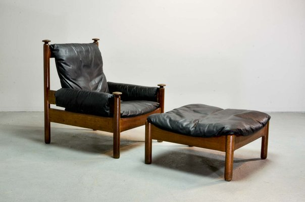 Mid-Century Scandinavian Black Leather Sofa Set, 1960S For Sale At