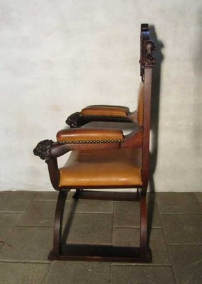 antique carved wood u0026 leather throne chair 9