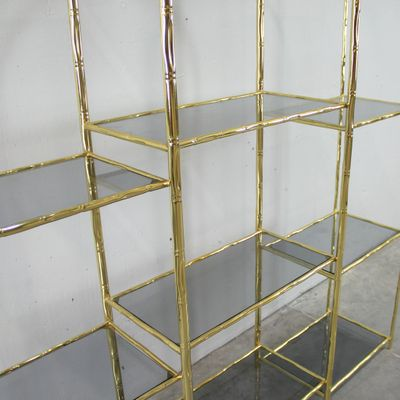 vintage glass and goldplated metal shelving unit 4
