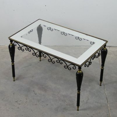 Metal And Glass Ornate Side Table, 1950s 2