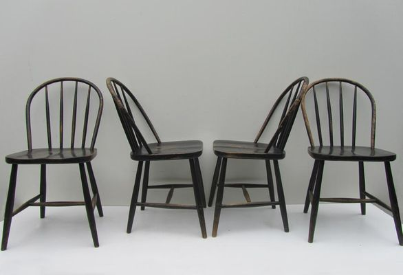 Vintage Wooden Bowback Dining Chairs Set Of 4 3