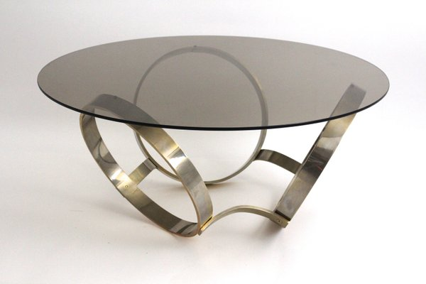 Smoked Glass Coffee Table With Three Metal Ringed Base, 1970s 1