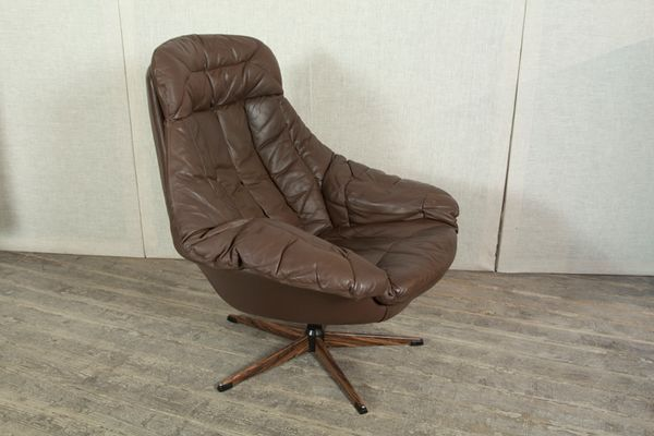 modern leather swivel lounge chair brown recliner with matching footstool