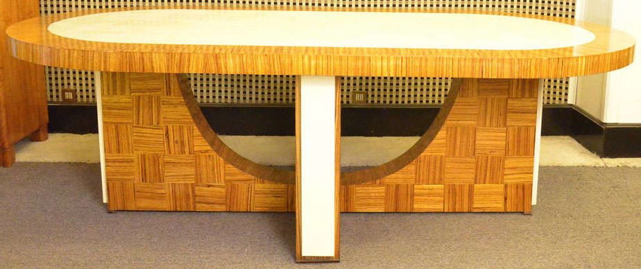Italian Art Deco Zebrano Dining Table 1930 2