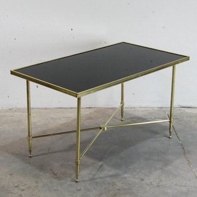 French Brass And Black Glass Coffee Table, 1940s 1