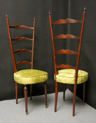 Italian High Back Chairs By Chiavari Legerissima, 1950, Set Of 2 1
