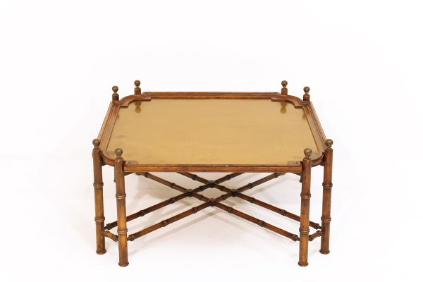 Faux Bamboo Coffee Table with Copper Top for sale at Pamono