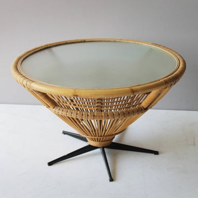 Mid Century Rattan Coffee Table C 1969