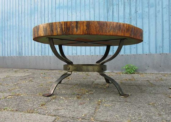 vintage tree trunk coffee table the netherlands 1960s 3
