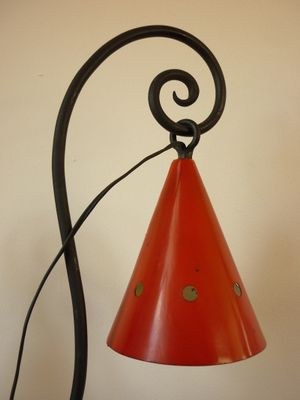 Mid Century Cast Iron Table Lamp, 1940s 6