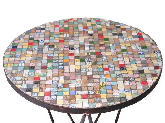 vintage gresite mosaik tisch. Black Bedroom Furniture Sets. Home Design Ideas