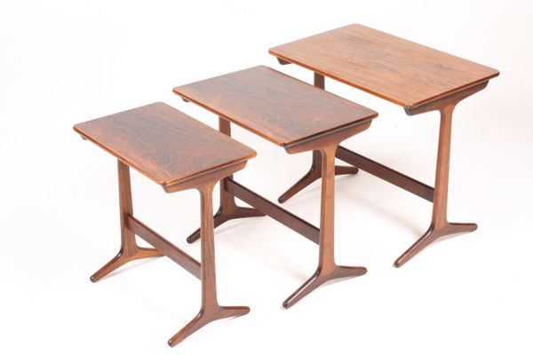 Mid Century Danish Rectangular Rosewood Nesting Tables, Set Of 3 5