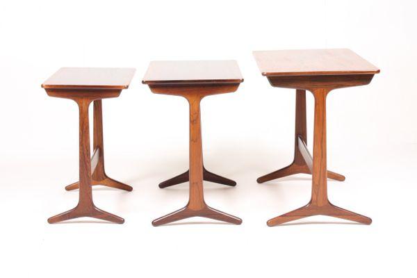 Mid Century Danish Rectangular Rosewood Nesting Tables, Set Of 3 4