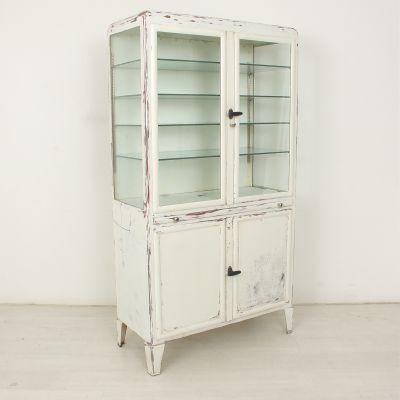 vintage vitrine mit sechs glasablagen. Black Bedroom Furniture Sets. Home Design Ideas