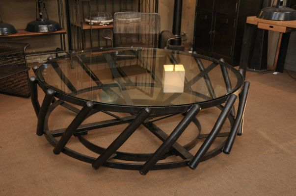 Industrial round big coffee table pamono - Table basse ronde industrielle ...